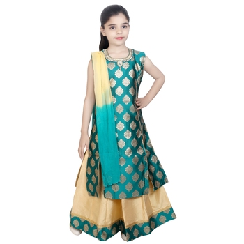 gold woven jacquard stitched kids lehenga choli