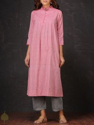Pink plain cotton long kurti with palazzo