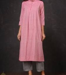 Pink plain cotton long kurti with palazzo