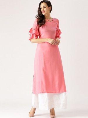 Pink plain cotton long kurti withh palazzo