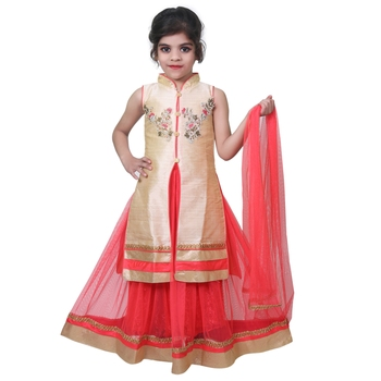 pink plain art silk stitched kids lehenga choli