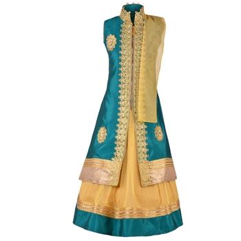 Golden Plain Art Silk Stitched Kids Lehenga Choli