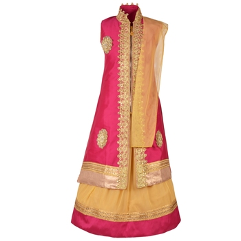 Golden Plain Art Silk Stitched Kids Lehenga Choli