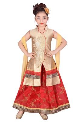 Red Printed Dupion Silk Stitched Kids Lehenga Choli