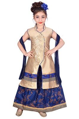 Blue Printed Dupion Silk Stitched Kids Lehenga Choli