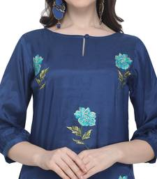 Royal blue embroidered viscose party wear kurtis