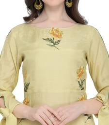 Yellow embroidered viscose party wear kurtis