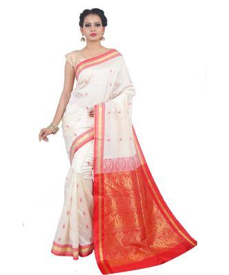 Off White woven Banarasi Saree with blouse