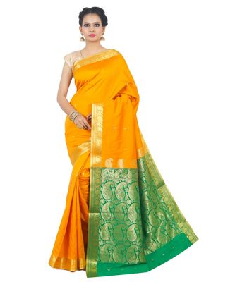 Yellow woven Banarasi Saree with blouse