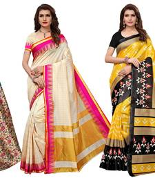 multicolor printed silk blend saree with blouse ( set of 3)
