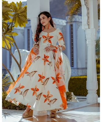Ivory Gold Handpainting Dress with Dupatta