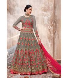 multicolor embroidered georgette semi stitched salwar with dupatta