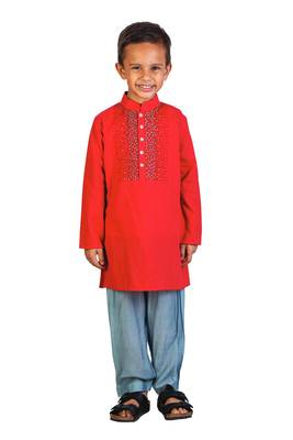 RED KURTA WITH GRAY SALWAR