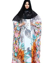 Justkartit Daily Wear Floral Printed Arabic Kaftan Style Islamic Abaya Burqa For Women With Chiffon Hijab