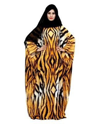 Justkartit Arabic Animal Printed Casual Wear Imported Abaya Burqa For Women With Chiffon Hijab