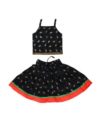 Black Baby Girls Skirt And Top Self Design Hand Block Print
