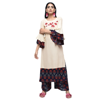 Multicolor embroidered rayon kurtas-and-kurtis