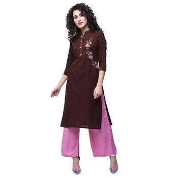 Brown embroidered cotton kurtas-and-kurtis