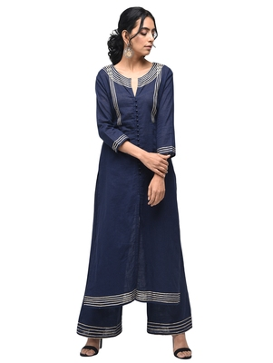 Navy-blue plain cotton kurtas-and-kurtis