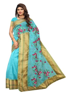 sky-blue embroidred net saree with blouse