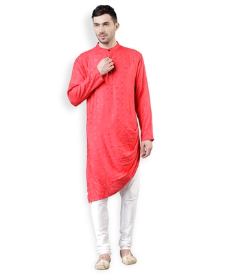Svanik Red Self Design Blended Assymetric Cowl Kurta