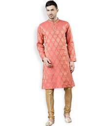 Svanik Pink Self Design Brocade Straight Embroidered Kurta