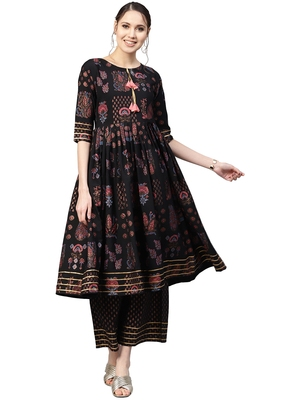 Black printed crepe party wear kurta with pant