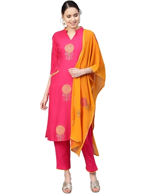 Magenta printed viscose rayon party wear kurta with pant and dupatta
