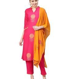 Magenta printed viscose rayon party wear kurta with pant and dupatta