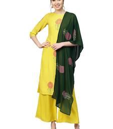 Yellow printed viscose rayon party wear kurta with palazzo and dupatta