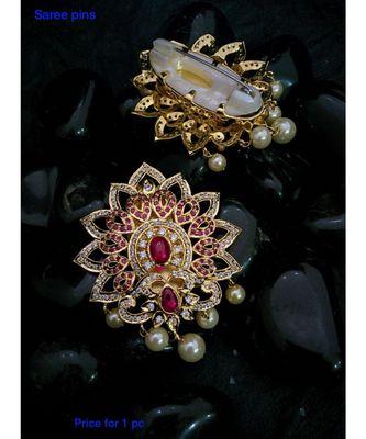 Multicolour Agate Zirconia Stones Brooch Or Saree Pin