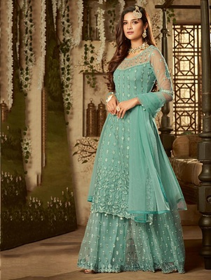 Light Green Sea Green Exclusive Designer Net Anarkali Suit