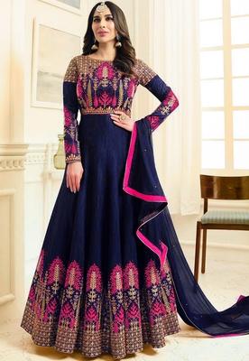blue embroidered silk blend anarakali with dupatta