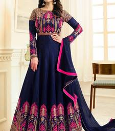 blue embroidered silk blend salwar with dupatta