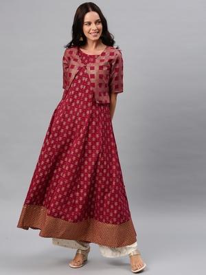 Maroon printed cotton ethnic-kurtis