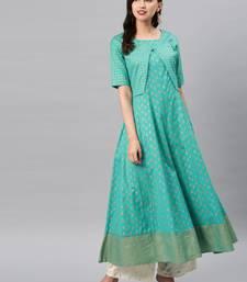 Turquoise printed cotton ethnic-kurtis