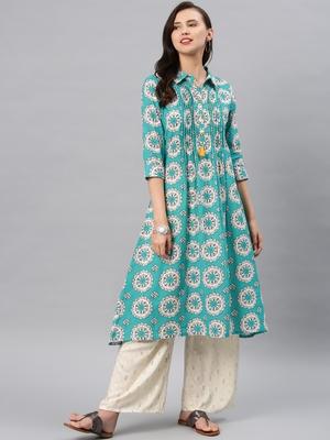 Turquoise hand woven cotton ethnic-kurtis