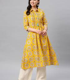 Yellow hand woven cotton ethnic-kurtis
