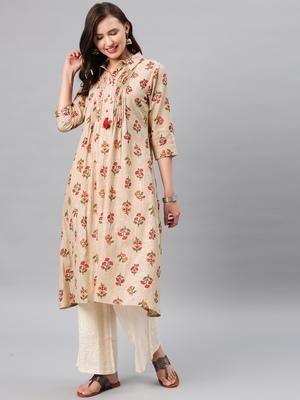 Beige hand woven cotton ethnic-kurtis