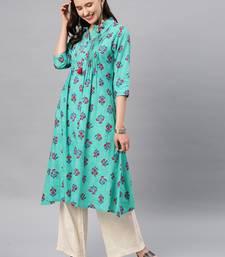 Sea-green hand woven cotton ethnic-kurtis