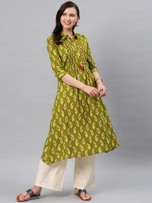 Green hand woven cotton ethnic-kurtis