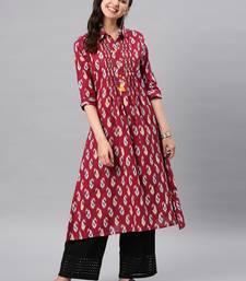 Maroon hand woven cotton ethnic-kurtis