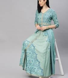 Emerald printed viscose rayon ethnic-kurtis