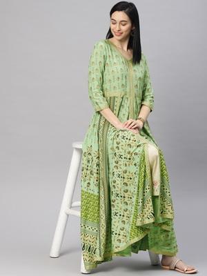Green printed viscose rayon ethnic-kurtis