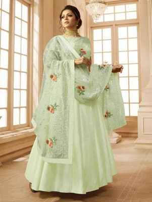 Light Pista Green Heavy Linen Satin With Embroidery Anarkali Suit Zoharin 2962624,Mint Green Combination Color