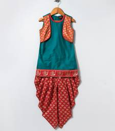 Turquoise printed polyester kids top with dhoti