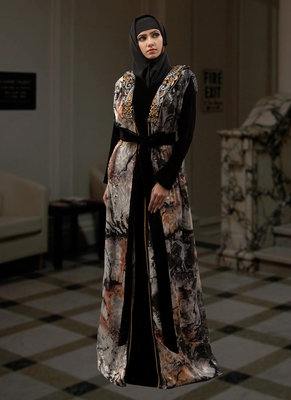 Black Embroidered Crepe Islamic Kaftans