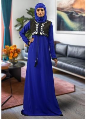 Blue embroidered crepe islamic-kaftans