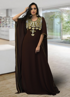 Brown embroidered georgette islamic-kaftans
