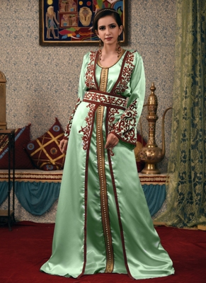Green embroidered satin islamic-kaftans